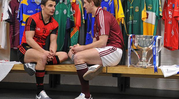 Down's Danny Hughes and Kieran Fitzgerald of Galway chatting at the launch of the Allianz Football League at Croke Park yesterday. Photo: Brendan Moran / Sportsfile