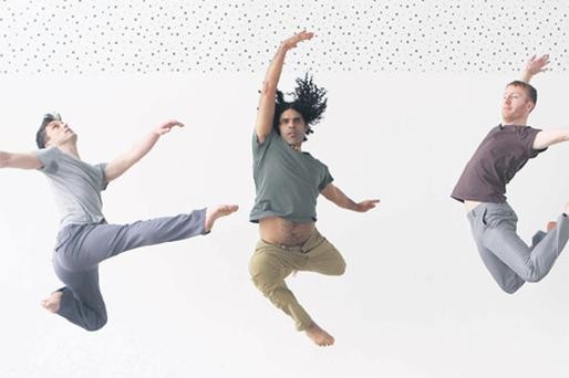 Philip Connaughton, Antonio Trinidad and Robert Heaslip in action at Dublin's DanceHouse yesterday to promote the Irish Modern Dance Theatre's latest show