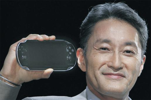 TOUCH Sony president and CEO Kazuo Hirai with a PlayStation Portable NGP.