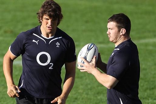 Donncha O'Callaghan and Fergus McFadden who makes his Ireland debut against Italy. Photo: Getty Images