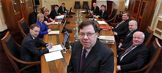 Taoiseach Brian Cowen at his final cabinet meeting