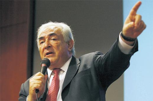 Managing director of the International Monetary Fund, Dominique Strauss-Kahn, speaking at 'The Global Economic Outlook and Asia's Role in the Global Economy' talk in Singapore yesterday