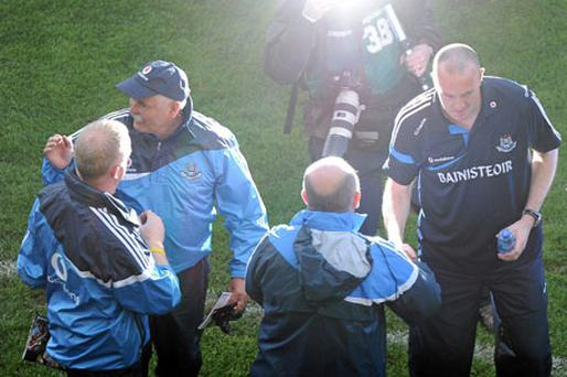 Dublin manager Pat Gilroy celebrates after his team defeated Tyrone at Croke Park in January and the manager will be determined to see similar strong performances over the coming months.