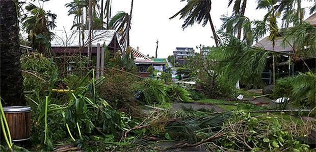 Damage to buildings caused by Cyclone Yasi is seen in the northern Queensland town of Mission Beach. Photo: Reuters