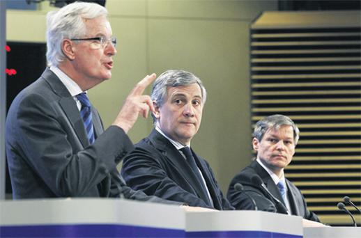 European Commissioners – for Internal Market and Services Michel Barnier (left), for Industry and Entrepreneurship Antonio Tajani (centre) and for Agriculture Dacian Ciolos – speak in Brussels yesterday about the EU's long-term strategy for securing scarce raw materials