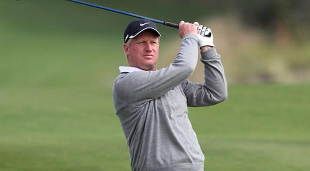 Richard Finch, driving his way to a share of second at the Qatar Masters, had to go to the TV compound after a final hole scare. Photo: Getty Images