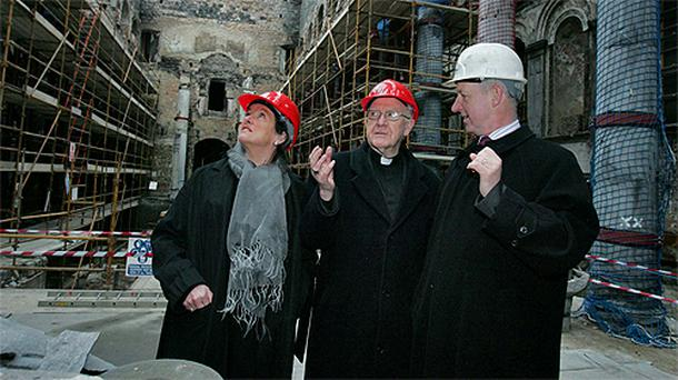 Bishop Colm O'Reilly with project manager Joan O'Connor and architect Aidan Kavanagh inside St Mel's Cathedral, Longford