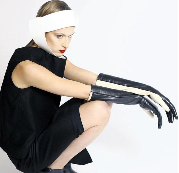 A foam rubber headpiece from Joanne Power's new collection
