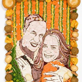 Prudence Staite's portrait of Prince William and Kate Middleton made from typical foods found on a carvery