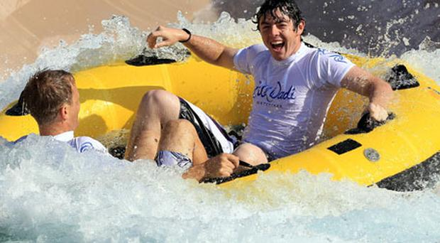 Rory McIlroy tries the new rides 'Burj Surge' and 'Tantrum Alley' at the Jumeirah Wild Wadi Waterpark in Dubai ahead of the Dubai Desert Classic which begins on Thursday. Photo: Getty Images