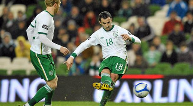 Keith Fahey scores Ireland's third goal. Photo: David Maher / Sportsfile