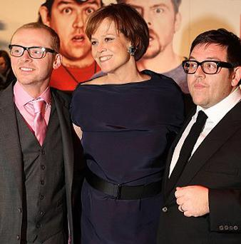 Simon Pegg, Sigourney Weaver and Nick Frost arriving for the world premiere of Paul at the Empire Leicester Square, London