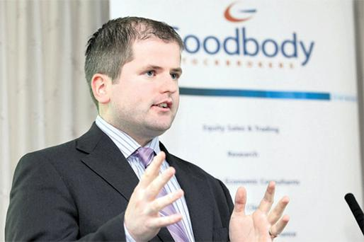 Dermot O'Leary, chief economist of Goodbody Stockbrokers, at the launch of the broker's economic report, titled 'Irish Debt Dynamics', which says solution to Ireland's fiscal problems must include restructuring of bank debt