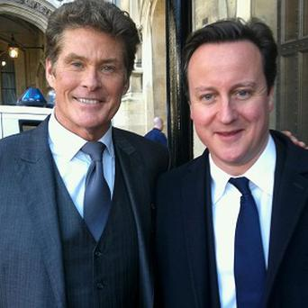 Prime Minister David Cameron meets Knight Rider star David Hasselhoff outside the House of Commons
