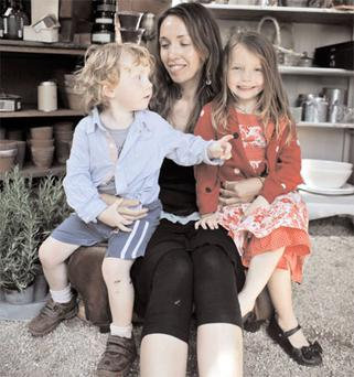 Happy: Hana Hall, with Noah and Martha, is confident her vegetarian children are meeting all their nutritional needs