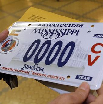 A sample of the latest Civil War licence plate that is being sold in Mississippi (AP)