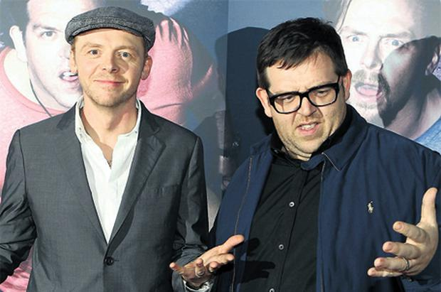 Simon Pegg and Nick Frost at Cineworld in Dublin last night at the Irish premiere of 'Paul'