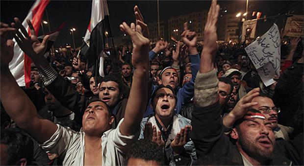 Opposition supporters in Tahrir Square, Cairo, yesterday. Photo: AP