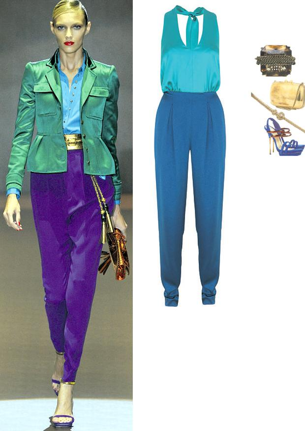 Jumpsuit by Limited Collection, €109 at Marks & Spencer, 24-29 Mary Street, Dublin 1 and branches; ?Ring with chain detail, €34 at Dune, Dundrum Town Centre, Dublin 14; Blue suede heels, €121; gold plated belt, €18; tarnished box bag, €68, all at Topshop.com
