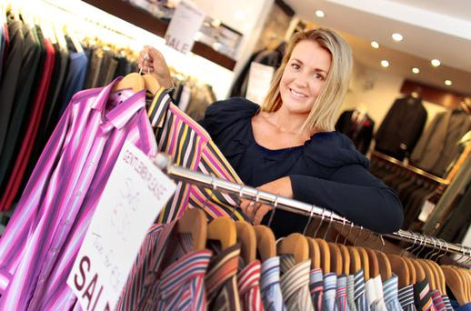 BARGAINS GALORE: Staff member Joellen Forsyth in Gentlemen Please in Blackrock, Co Dublin. Photo: Gerry Mooney