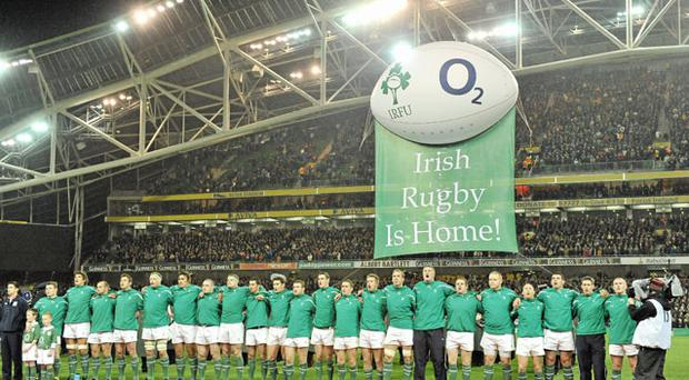 The Ireland team stand for the National Anthem. Photo: Sportsfile