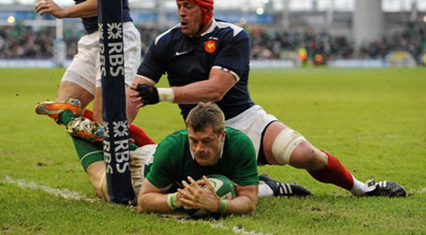 Jamie Heasip touches down to score Ireland's third try. Photo: Brendan Moran / Sportsfile