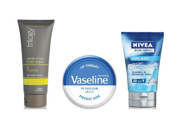 Trilogy Natural Actives for Men, Face Wash and Scrub, €16.95, Vaseline Lip Therapy, Original, €1.50, Nivea for Men Cool Kick Arctic Freeze 2in1 Wash & Shave Gel, from €5.99