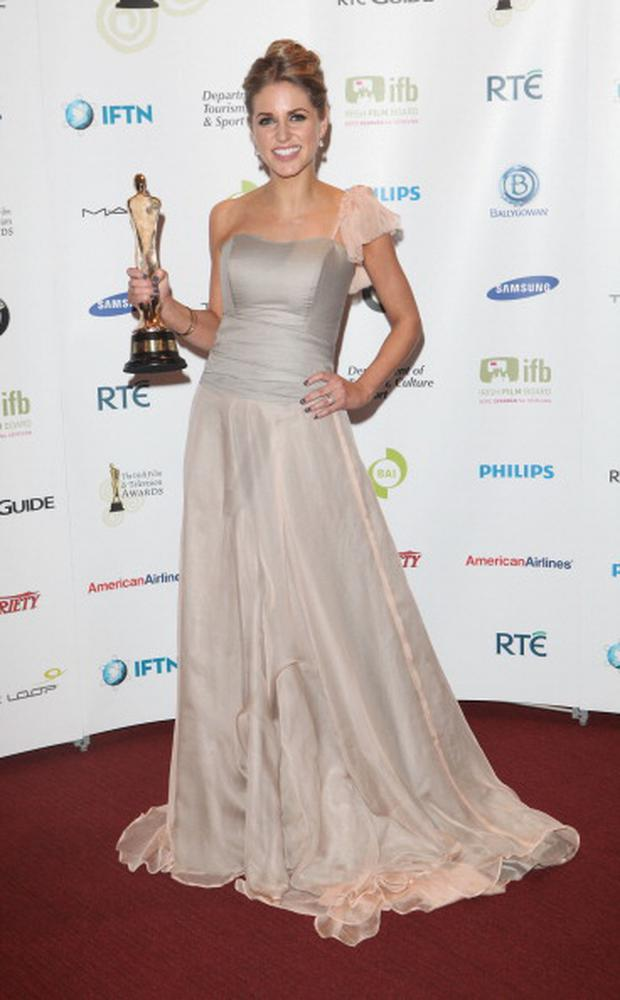 DUBLIN, IRELAND - FEBRUARY 12: Actress Amy Huberman winner of Best Actress in a Lead Role for Rewind at the Irish Film and Television Awards at Dublin Convention Centre on February 12, 2011 in Dublin, Ireland. (Photo by Tim Whitby/Getty Images for IFTA)