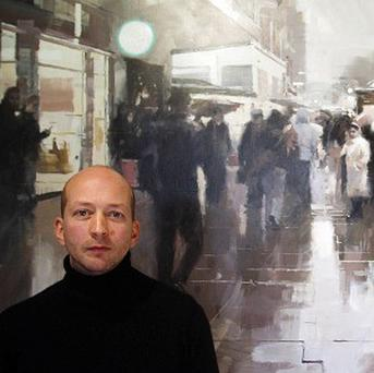 Artist James Hart Dyke with his paintings of A year with MI6 at the Mount Street Gallery, London