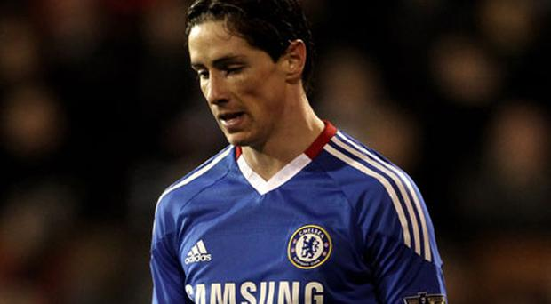 Chelsea's £50m striker Fernando Torres shows his frustration during the Premier League match against Fulham at Craven Cottage last night - the game ended 0-0. Photo: Getty Images