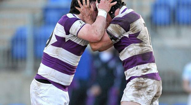 Diarmuid Kennedy (L) and Conor Gilsenan of Clongowes Wood celebrate at the final whistle in Donnybrook yesterday. Photo: Paul Mohan / Sportsfile