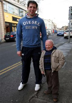 Walking With Giants fundraiser Paddy Ryan with Nenagh Ormond RFC player Keith Quigley. Photo: Bridget Delaney