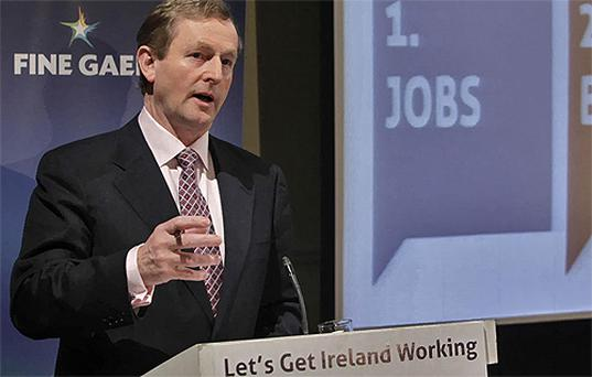 Fine Gael Leader Enda Kenny launches his party's General Election Manifesto in Dublin. Photo: PA