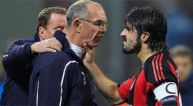 AC Milan's Gennaro Gattuso squares up to Tottenham first team coach Joe Jordan during the Champions League clash at the San Siro. Photo: Reuters