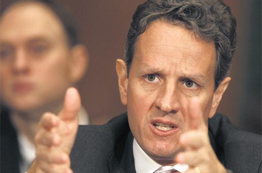 US Secretary of Treasury Timothy Geithner speaks at the Senate Finance Committee on Capitol Hill in Washington, yesterday