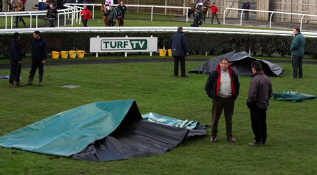 A general view of the parade ring during the Totesport Super Saturday at Newbury Racecourse. Photo: PA