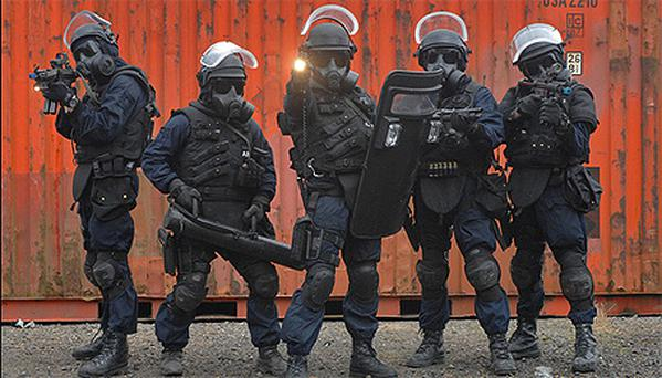 Elite Army Rangers training in Dublin Airport during counter-terrorism exercises yesterday