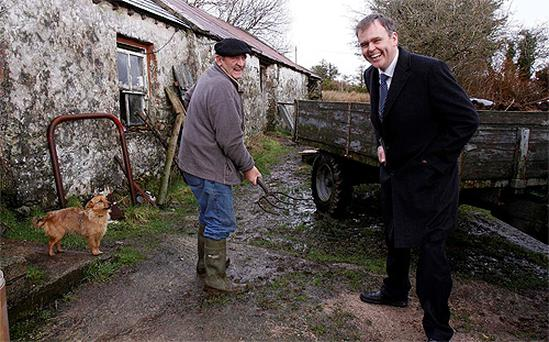 Fine Gael candidate Joe McHugh gets the sharp end of the fork from Willie Lynch, Crieve while out on the canvass in Donegal East