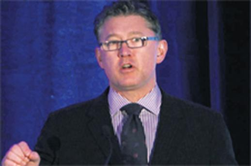 Liam FitzGerald, chief executive of United Drug, addresses the AGM in the Shelbourne Hotel, Dublin