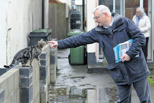 Socialist MEP Joe Higgins canvassing Lola and Martina O'Connor in Clonsilla yesterday