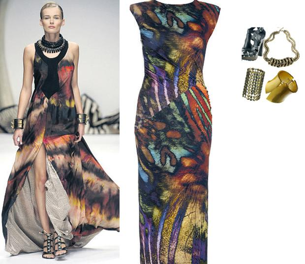 Digital print maxi dress, €67, River Island; Clog style sandal, €94, River Island; Multi strand necklace, €8.99 at New Look; Asymmetric cuff, €30, and disc cuff, €21, both at Topshop.com