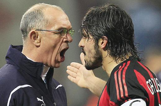 Gennaro Gattuso gets in Joe Jordan's face on Tuesday night – but the Italian's madness can be explained by the presence of a full moon. Photo: Reuters