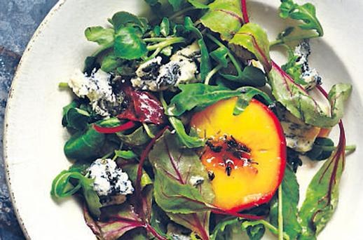 Warm salad of Gorgonzola cheese and honey-roasted peaches