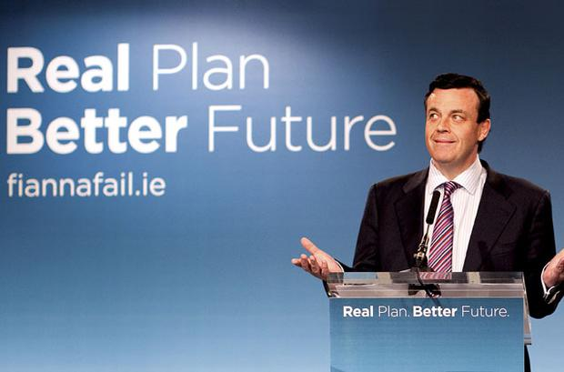 TRYING TO MOVE ON FROM MISTAKES: Minister for Finance Brian Lenihan at a Fianna Fail press conference on economic growth last Friday. Photo: David Conachy
