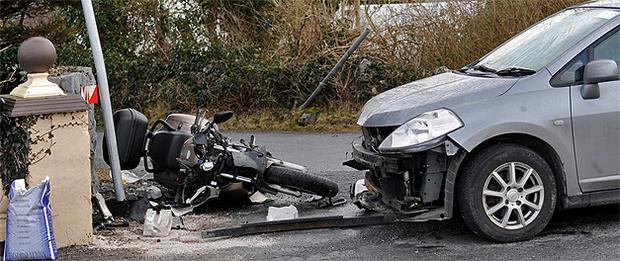 The scene where motorcyclist Sean Lenehan died following a crash near Lackagh, Co Galway