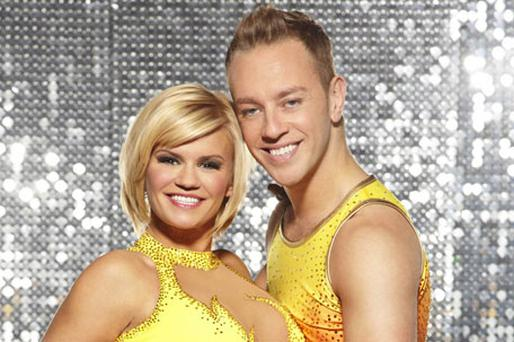 Kerry Katona with ice dancing partner Dan Whiston. Photo: PA