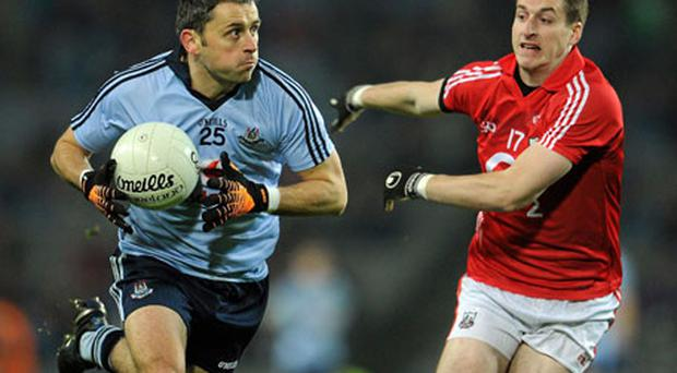 Dublin's Alan Brogan on the charge against Cork's Eoin Cotter during Saturday's clash at Croke Park, Dublin scored three goals in their win over Cork. Photo: Ray McManus / Sportsfile