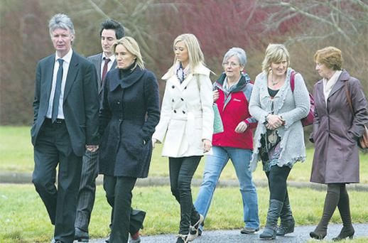 Hazel Stewart, with husband David, son Andrew, daughter Lisa, and friends at Coleraine courthouse yesterday