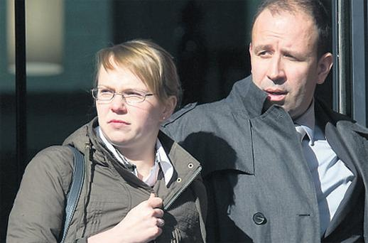 Sebastien Loniewski with his wife Natalia at Cork Circuit Criminal Court yesterday