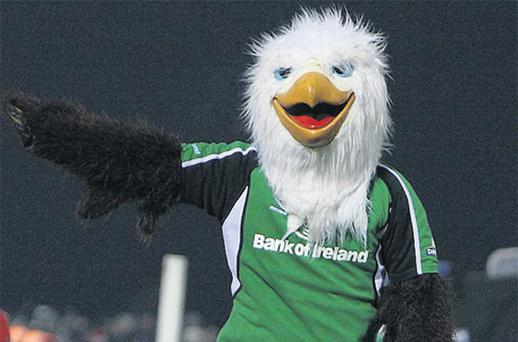 Tackled: Connaught mascot 'Eddie' the Eagle